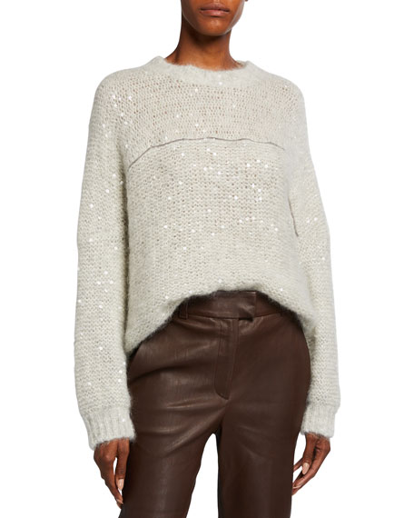 Brunello Cucinelli Relaxed Mohair Crewneck Sweater with Monili Stripe