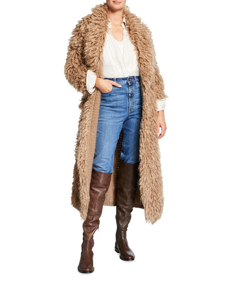 Brunello Cucinelli Long Chubby Mohair Coat with Leather Belt