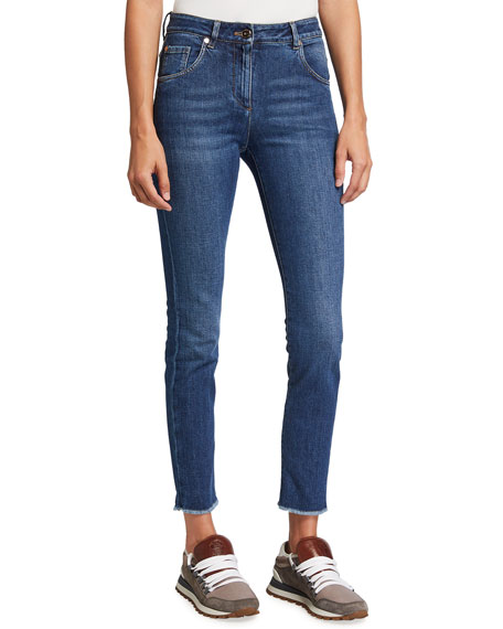 Brunello Cucinelli Skinny Raw-Edge Denim Jeans