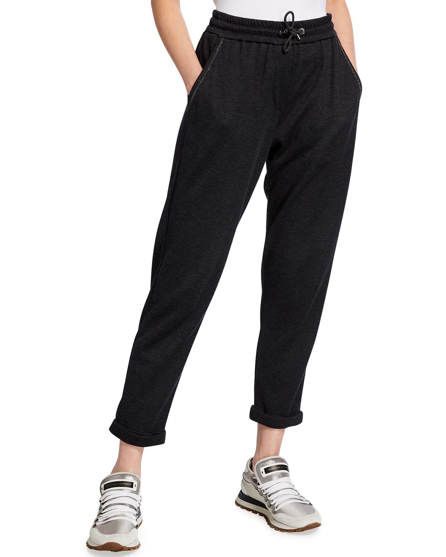Cotton-Silk Sweatpants with Monili Trim