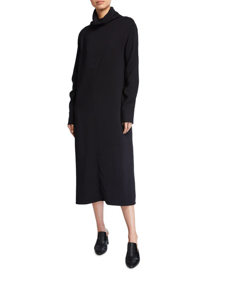 Co High-Neck Long-Sleeve Dress with Front Seam