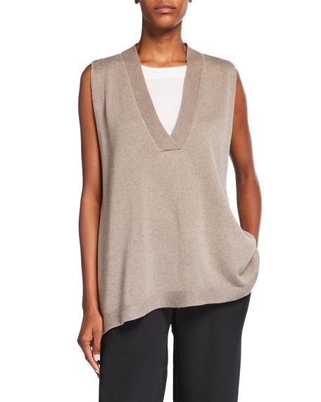 Eskandar Sleeveless Silk/Cashmere Sweater with Edge Detail