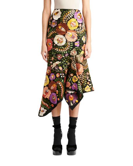 TOM FORD Floral Embroidered Asymmetric Godet Skirt