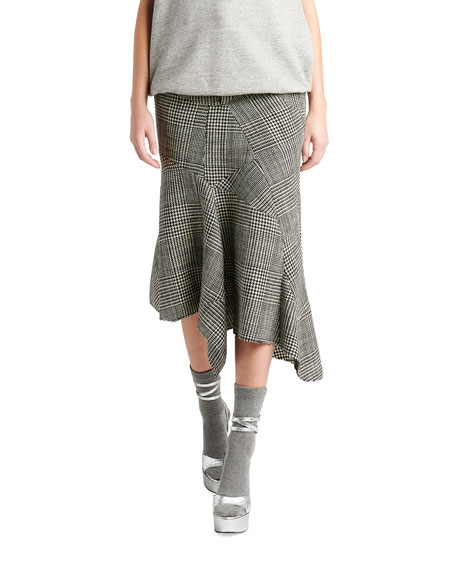 TOM FORD Prince of Wales Plaid Godet Leather Tie Skirt