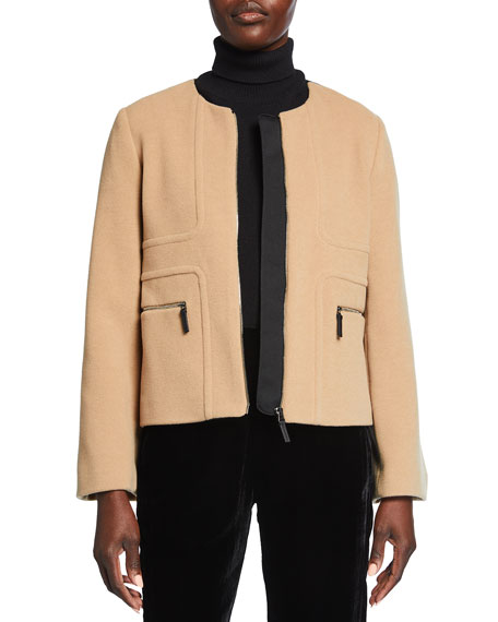 Piazza Sempione Melton Leather-Trim Wool-Blend Short Jacket