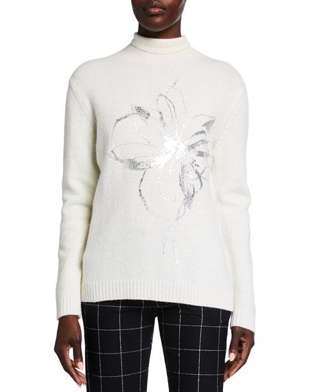 Piazza Sempione Turtleneck Floral-Embossed Wool Sweater