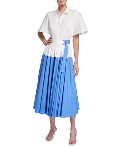 Stretch Cotton Poplin Pleated Cape-Back Shirtdress
