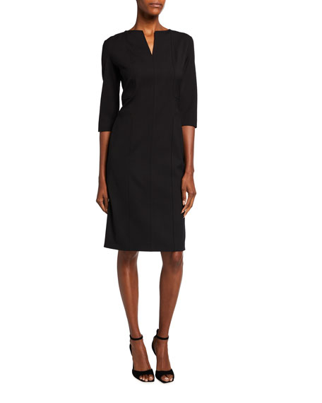 Piazza Sempione Wool Raised-Seam 3/4-Sleeve Sheath Dress