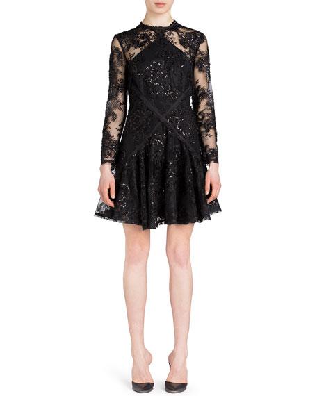 UNTTLD Lace Diamond Cut Flare Dress