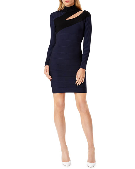 Herve Leger Bandage & Rib Cutout Mock-Neck Mini Cocktail Dress