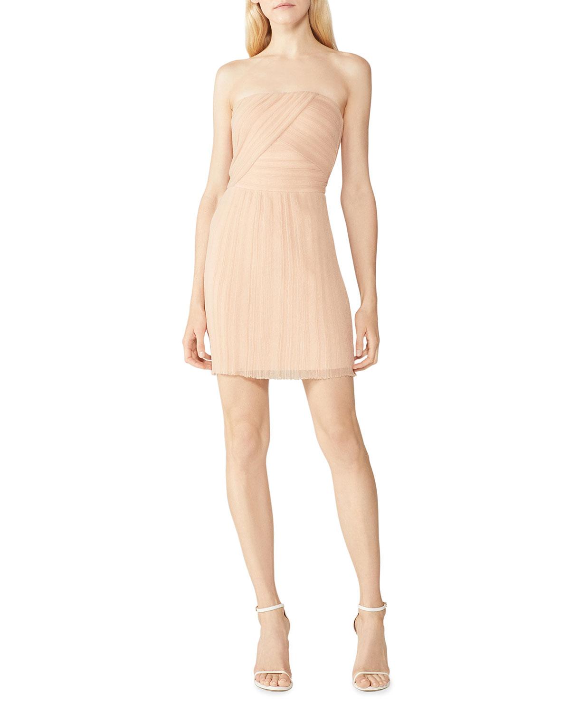 Transparent Rib Bodice Mini Strapless Dress