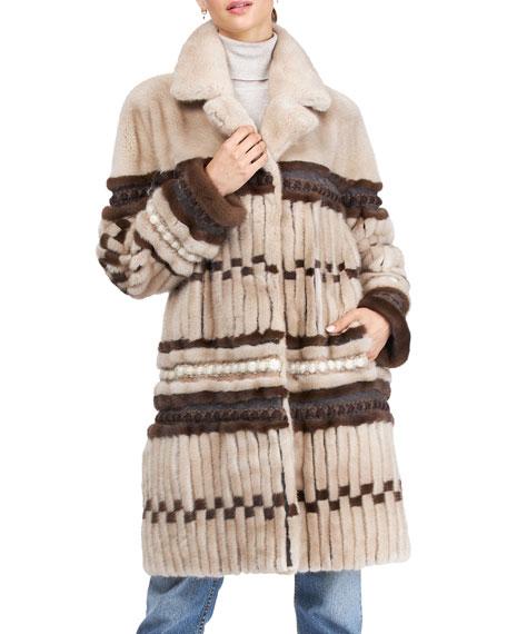 Pajaro Mink Fur Jacket W/ Suede & Wool Trim
