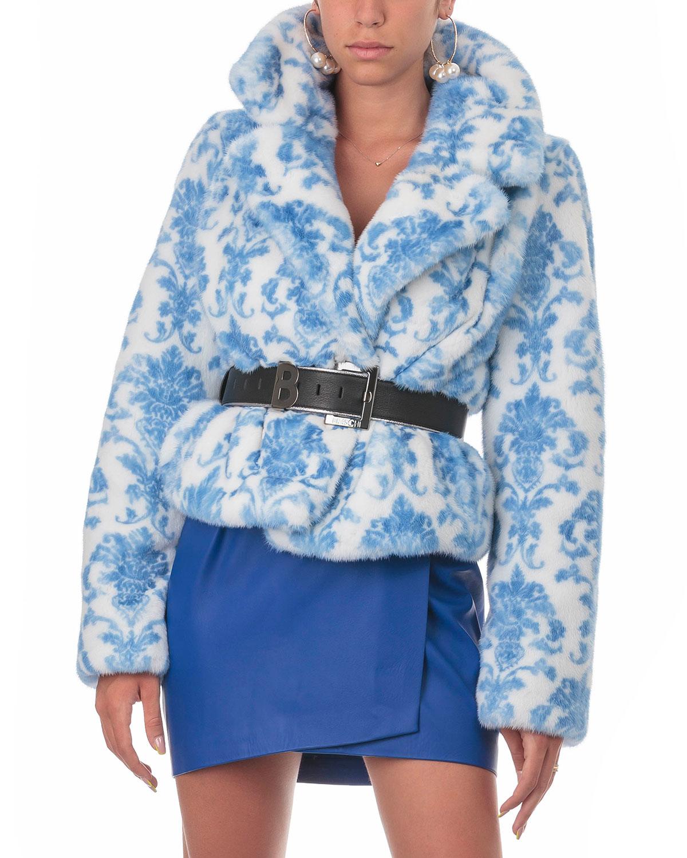 Mink Intarsia Belted Jacket
