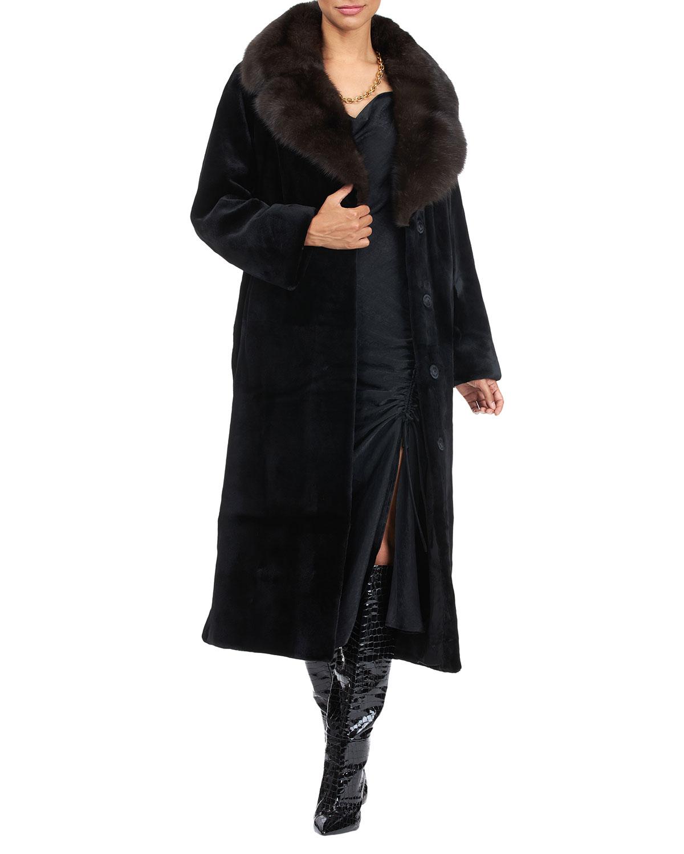 Leather Belted Mink Fur Coat