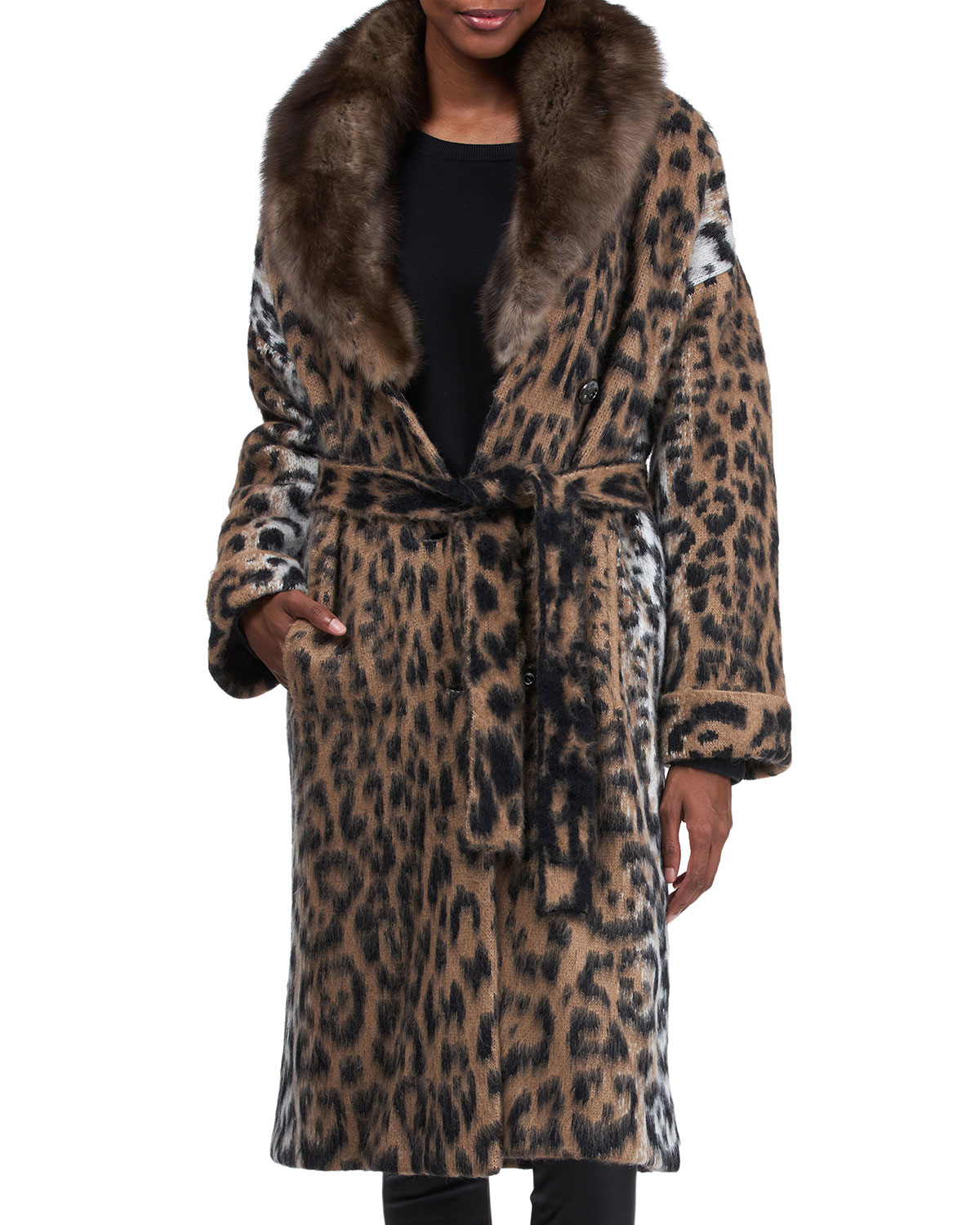 Belted Wool Coat with Sable Collar