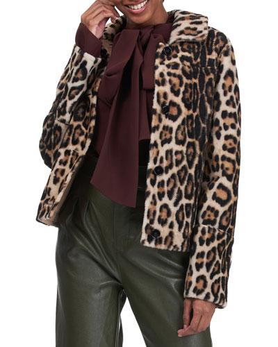 Leopard-Print Shearling Lamb Jacket