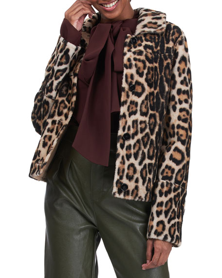 Yves Solomon Leopard-Print Shearling Lamb Jacket