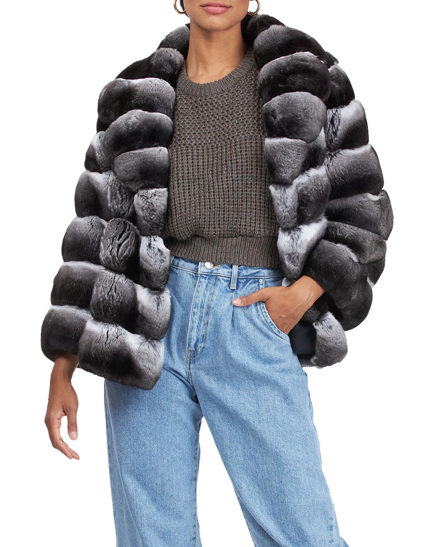 Chinchilla Horizontal-Quilted Coat