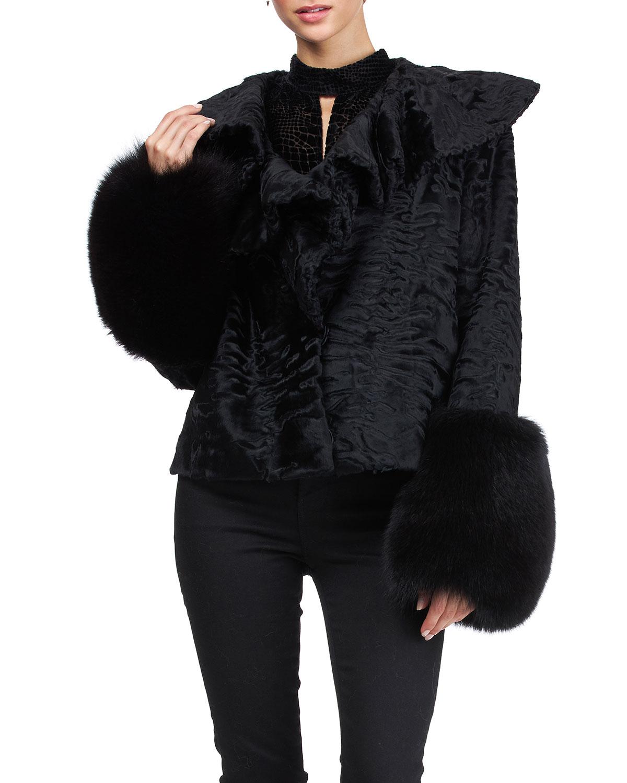 Ruffle Karakul Lamb Jacket w/ Fox Fur Cuffs