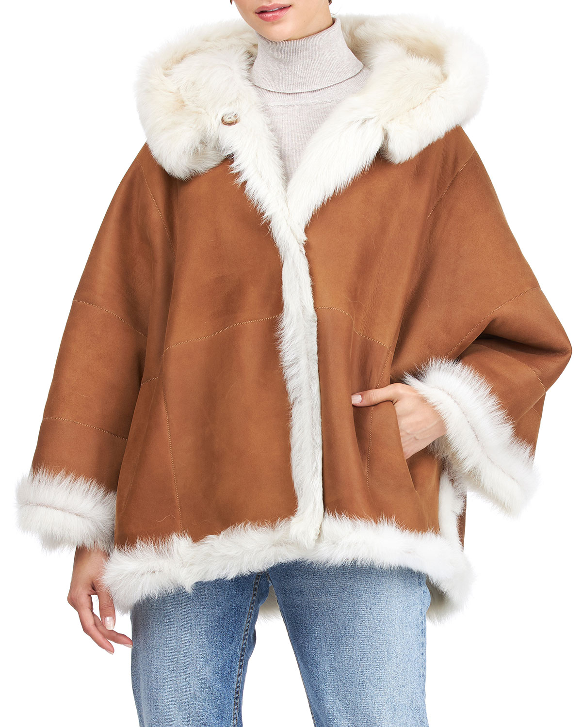 Reversible Shearling Lamb Hooded Jacket with Cropped Sleeves