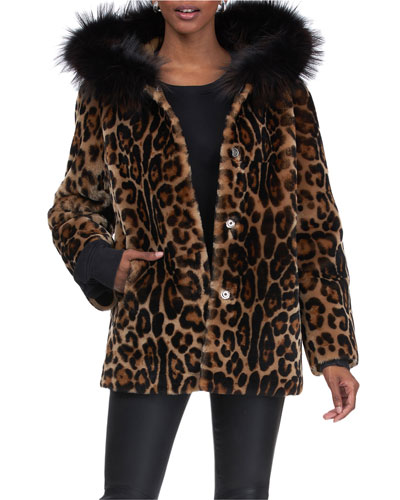 Reversible Leopard Shearling Lamb Jacket with Fox Hood
