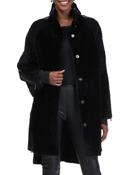 Gorski Shearling Lamb Stroller Coat With Zip Detail