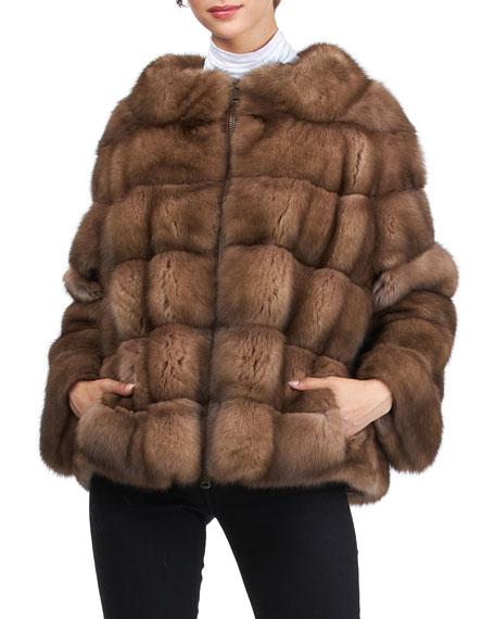 Gorski Horizontal Sable Zip Jacket