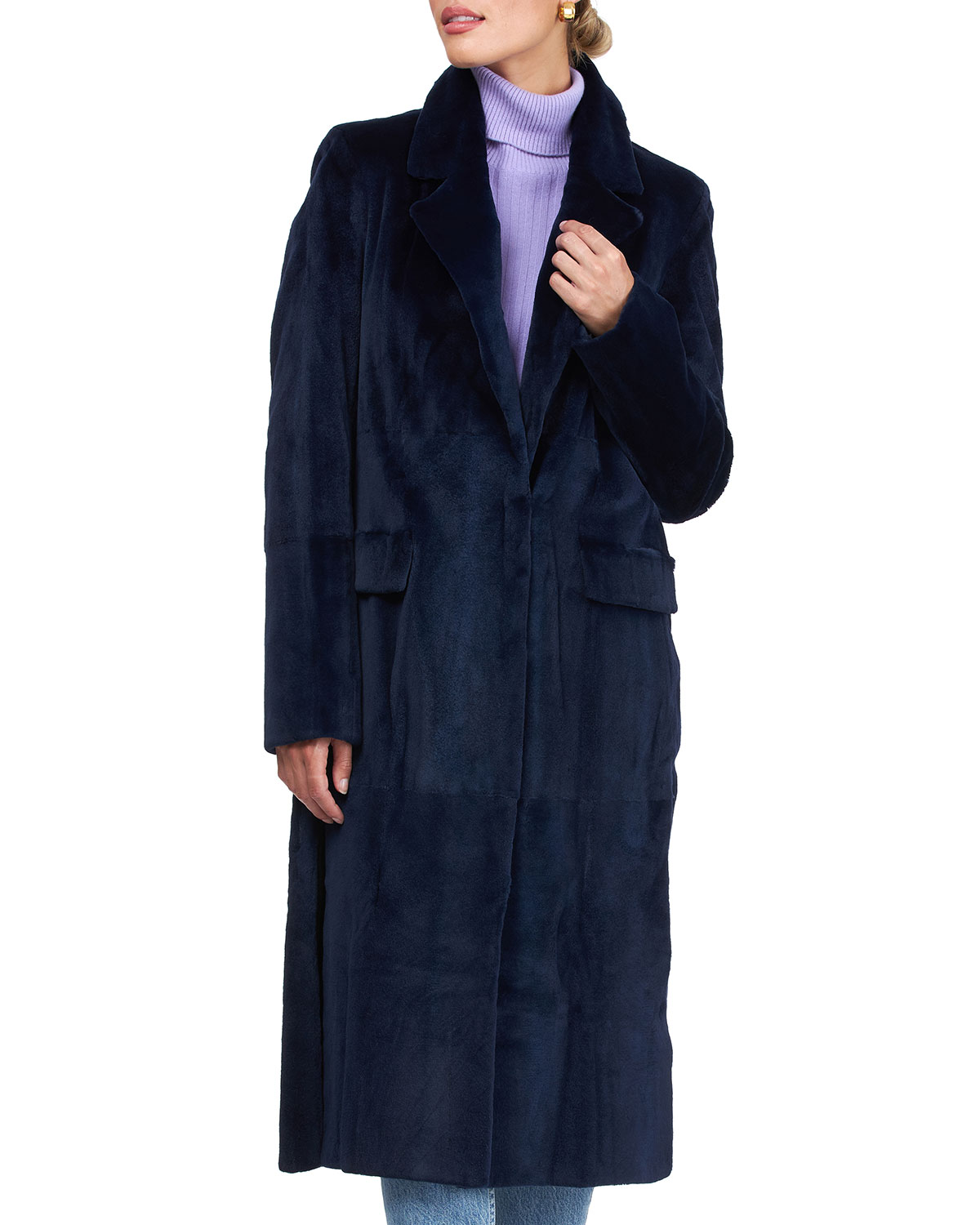 Sheared Mink Coat with Notched Collar