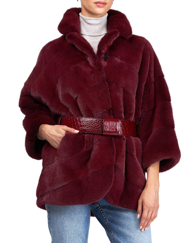 Chevron Mink Jacket with Leather Belt