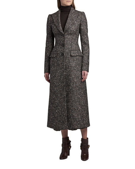 Dolce & Gabbana Fitted Tweed Long Overcoat