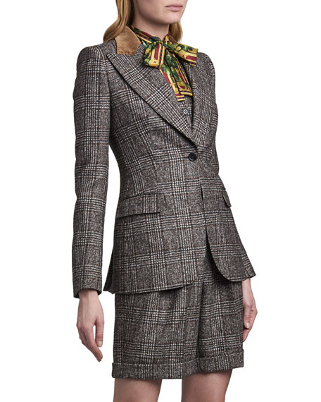 Dolce & Gabbana Tartan Plaid Wool-Blend Jacket