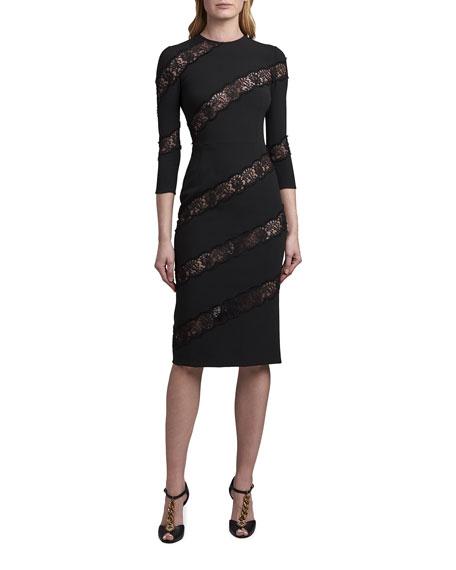 Dolce & Gabbana Crewneck Sheath Dress with Angled Lace Insets