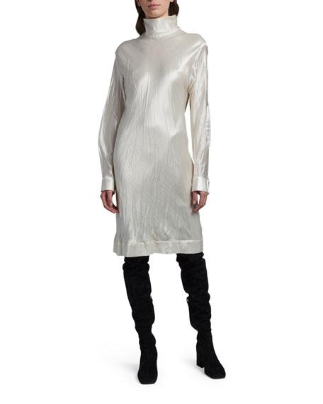 Marni Long-Sleeve High-Neck Satin Dress