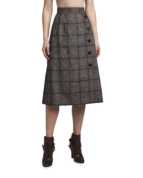 Dolce & Gabbana Plaid A-Line Midi Skirt