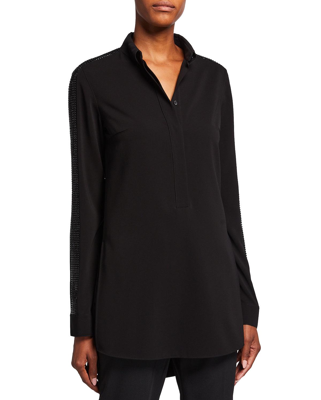 Embellished Kent-Collar Crepe Tunic Blouse