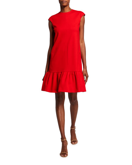 Akris punto Cap-Sleeve Drop-Waist Crepe Peplum Dress
