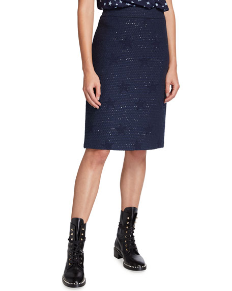 Maison Common Wool-Blend Star Jacquard Tweed Skirt