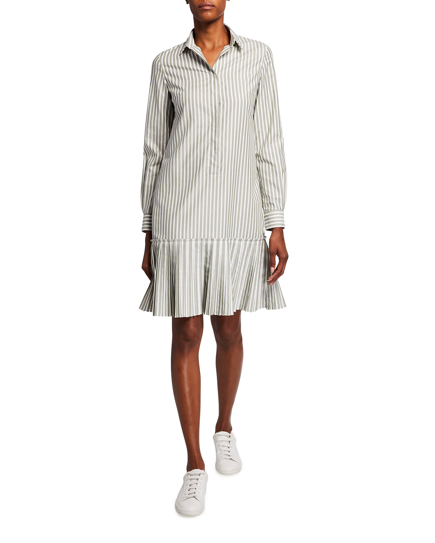 Striped Long-Sleeve Poplin Shirtdress