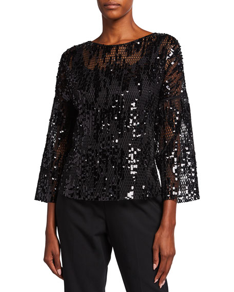 Akris punto Sequined Mesh 3/4-Sleeve Top