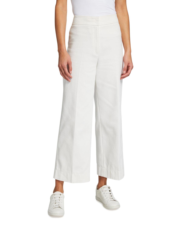 Chieko Cotton Gabardine Wide-Leg Pants
