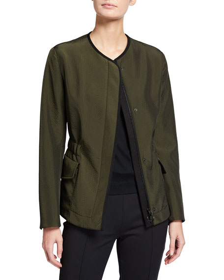 Akris punto Long-Sleeve Seersucker Cotton-Blend Jacket