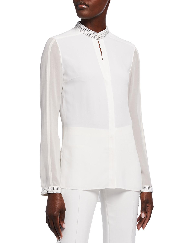 Crystal-Embellished Silk Blouse