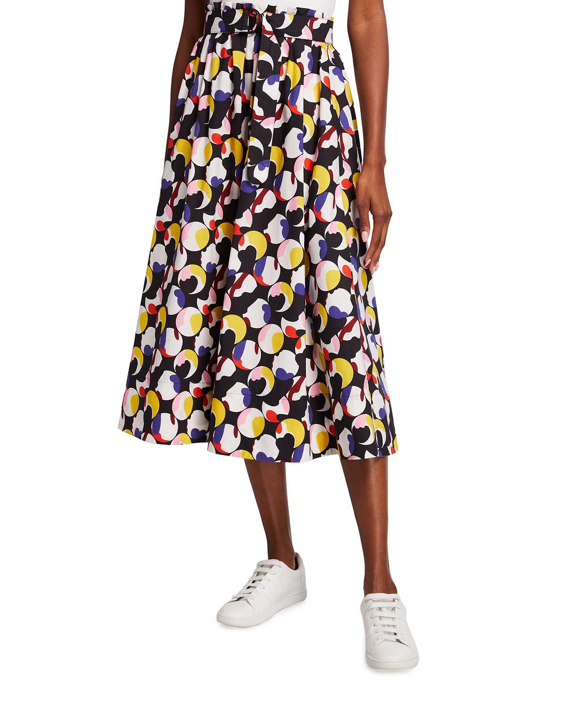 Floating Dot Belted Midi Skirt