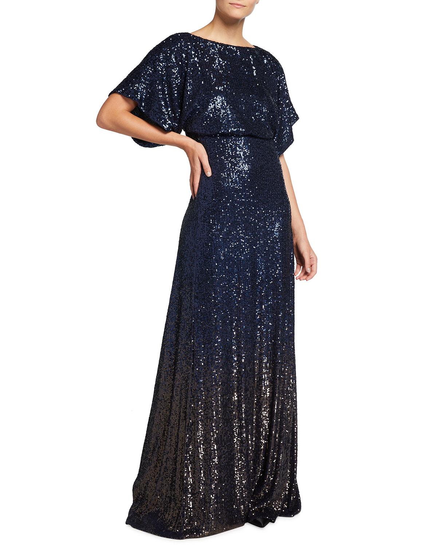 Long Empire-Waist Sequin Gown