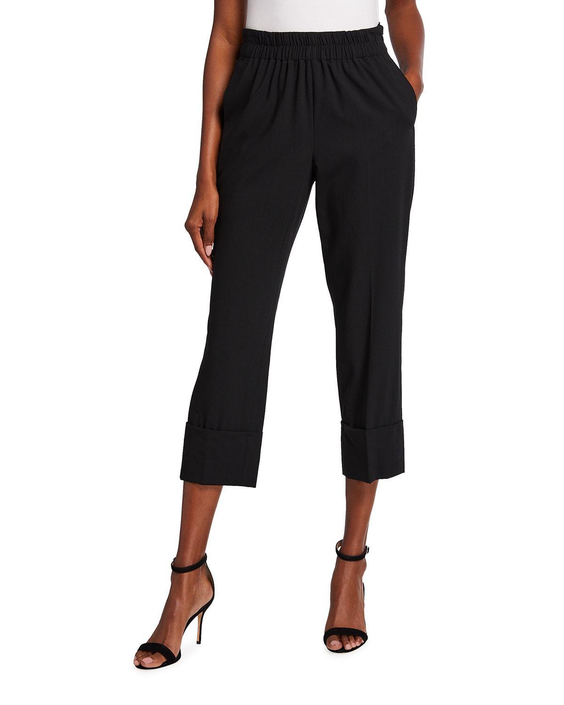 Wool Cropped Straight-Leg Elastic Pants