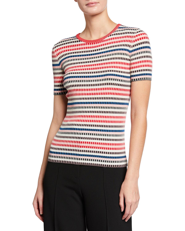 Rib Knit Short-Sleeve Wool Sweater
