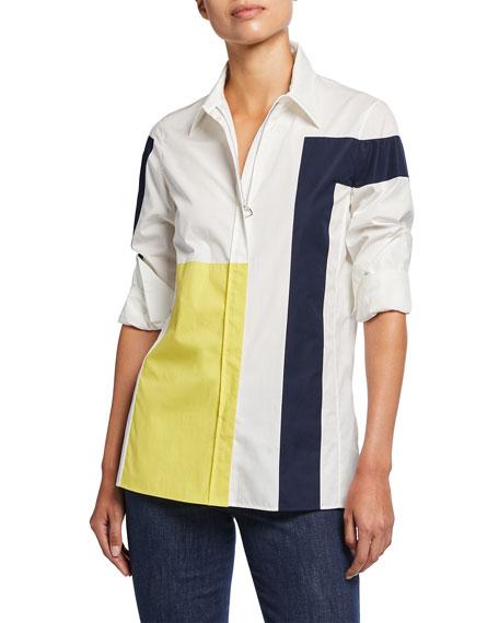 Akris Quadrat Patchwork Cotton Poplin Shirt
