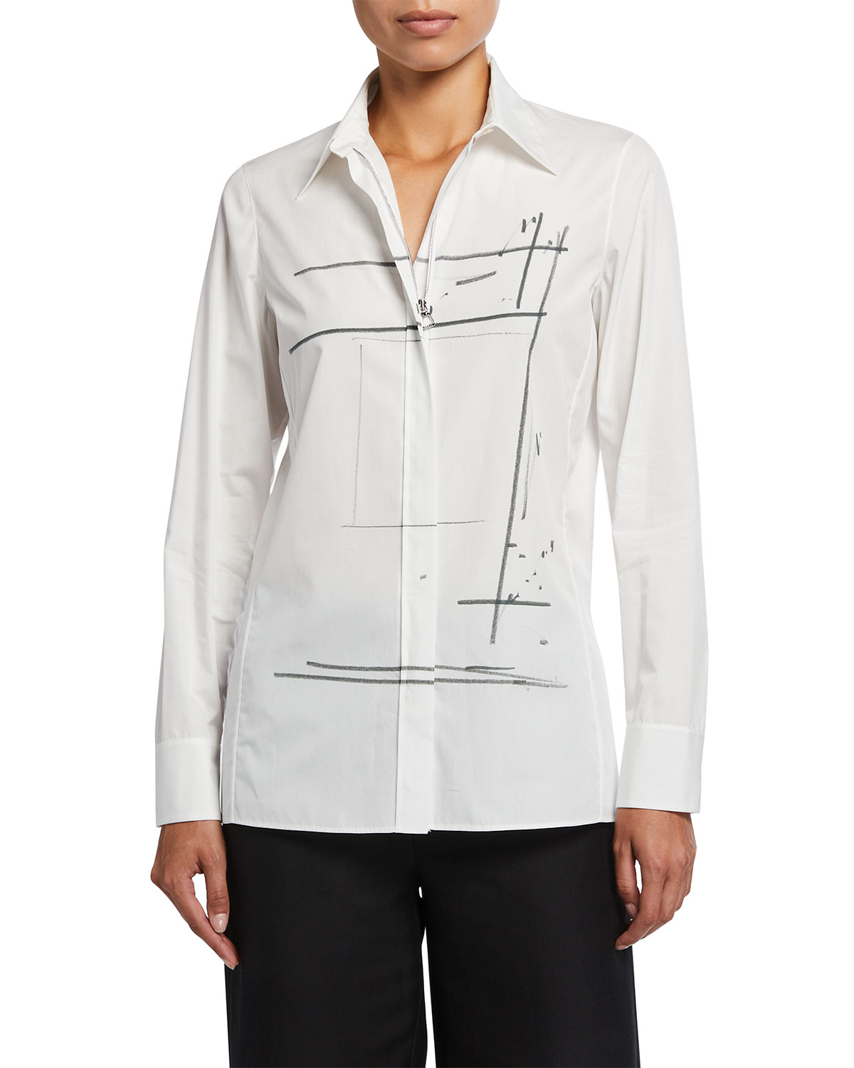 Placed Print Zip-Front Long-Sleeve Collared Tunic