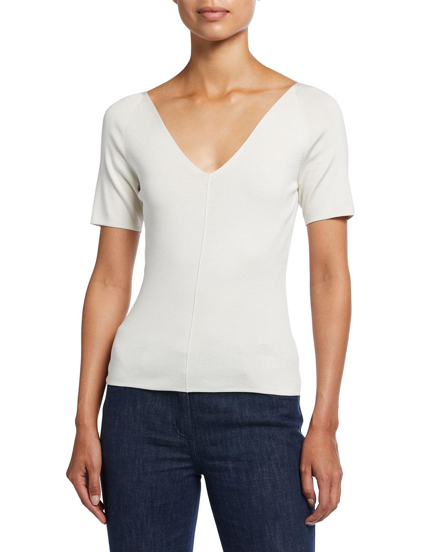 V-Neck Raglan-Sleeve Stretch Silk Pullover
