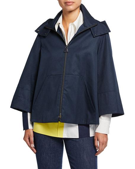 Akris Zip-Front Cotton Twill Short Jacket w/ Detachable Hood